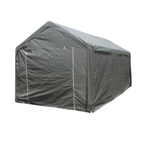 ALEKO 10 x 20 Outdoor Gazebo Carport Canopy Tent with Sidewalls Grey