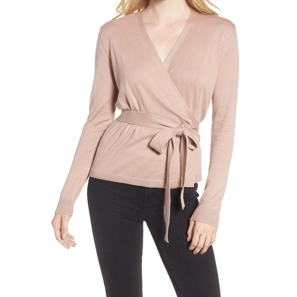 Shop Chelsea28 Pink Womens Size Large L Long Sleeve Wrap Knit Top