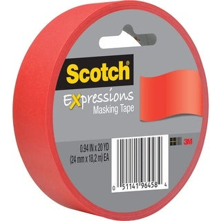 "Scotch 3437-PRD Expressions Masking Tape, Primary Red, .94"" x 20 Yd"