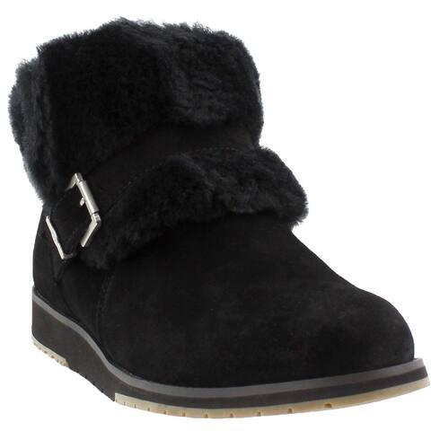 Emu Australia Womens Oxley Fur Cuff Casual Booties Shoes