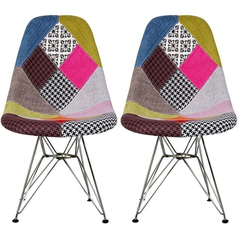 Set of 2 Modern Color Pyramid Seat Height DSW Molded Armless Plastic Dining Room Chairs Chrome Wire Eiffel Dowel Legs