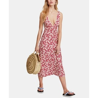 Link to Free People Womens Dress Cherry Red White Size 12 Sheath Floral Print Similar Items in Dresses
