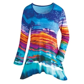 Women's Tunic Top - Stained Glass Blue Mural Long Sleeve Shirt