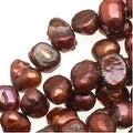 Burgundy Red Funky Nugget Cultured Pearls 3-7mm (16 Inch Strand) - Thumbnail 0