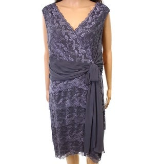 Marina NEW Gray Womens Size 14 Chiffon Trim Lace Surplice Sheath Dress