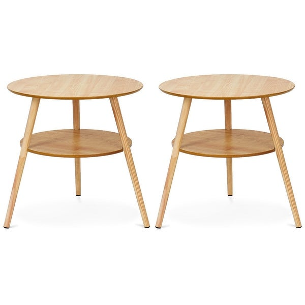 Round Coffee Table Set Of 2: Shop Goplus Set Of 2 Round End Coffee Table Side Accent