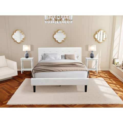 3 Piece Bedroom Set - 1 Queen Bed White Velvet Fabric and 2 Night Stands - Urban Gray Finish Nightstand