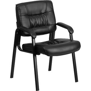 Silkeborg Black Leather Executive Side Reception/Guest Chair w/Black Frame