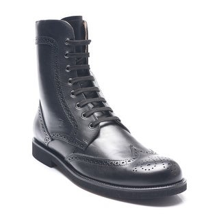 Tod's Men's Wingtip Leather Lace-Up Ankle Boots Black
