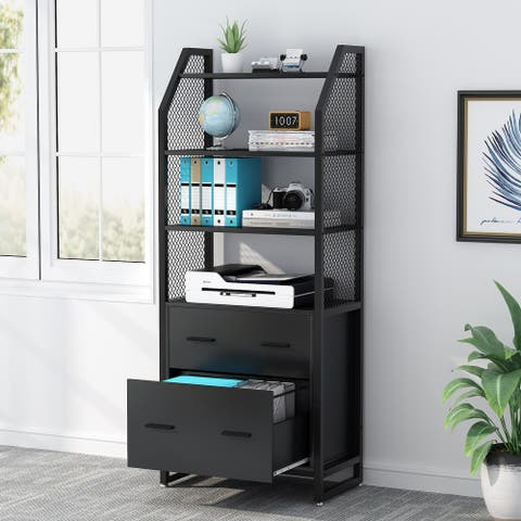 Modern 2-Drawers Lateral File Cabinet, Filing Cabinet for Letter/Legal/A4 Size File, Black