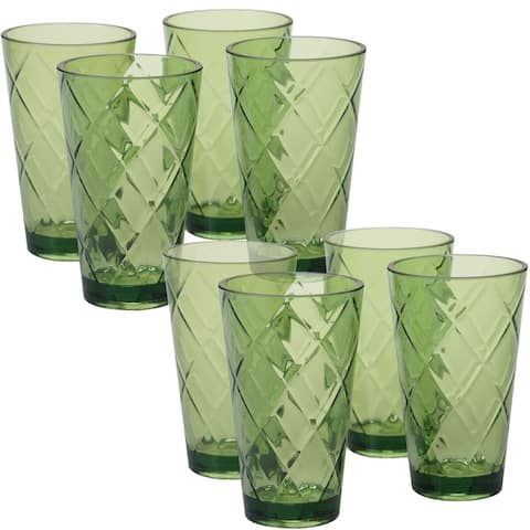 8pc Green Contemporary Glass Ice Tea Cup Set 20 oz.