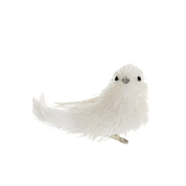 "4.5"" Tell a Story Winter White Glittered Bird Clip-On Christmas Figure Ornament"