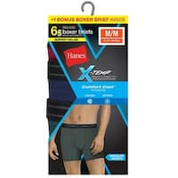 Hanes Men's Red Label X-Temp Fashion Boxer Brief Bonus Pk P5 + 1 Free - Size - L - Color - Assorted