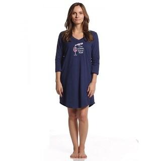 Rene Rofe Women's Pillow Talk I Am Woman Hear me Pour 3/4 Sleeve V-Neck Sleepshirt