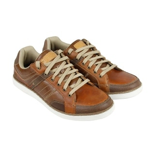 Skechers Torben Mens Brown Leather Casual Dress Lace Up Oxfords Shoes