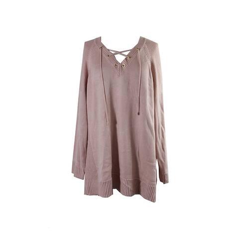 Calvin Klein Plus Size Blush Laced-Up Grommet Sweater 3X