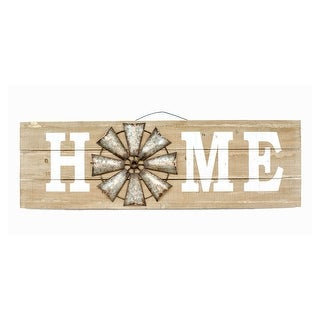 "12""x38"" Home Wood Sign w/Wind Mill - TAN"