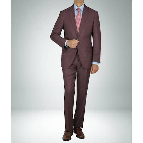 Carlo Studio Sharkskin Burgundy Modern-Fit Suit