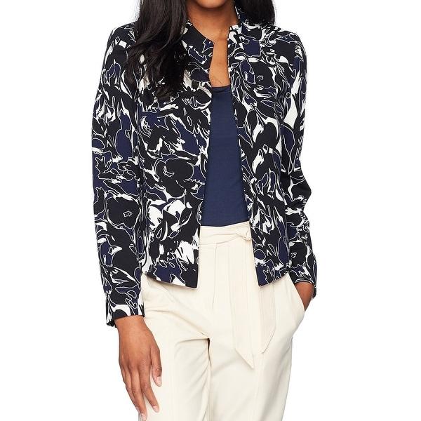 Kasper Blue Womens Size 14 Crepe Flyaway Floral Print Blazer Jacket