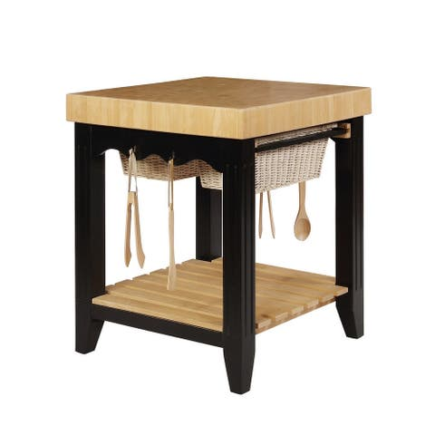 Wooden Square Kitchen Island with Basket Pull Out Drawers, Black and Brown