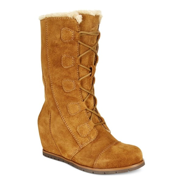 Baretraps Womens Brinda Wedge Boots Suede Mid-Calf
