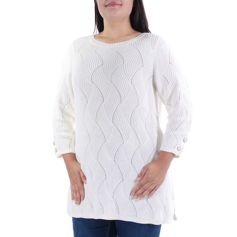 CHARTER CLUB Womens Ivory Geometric 3/4 Sleeve Jewel Neck Sweater Size: OX
