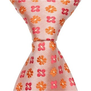 Matching Tie Guy 2585 O3 - 59 in. Adult Necktie - Orange With Flowers