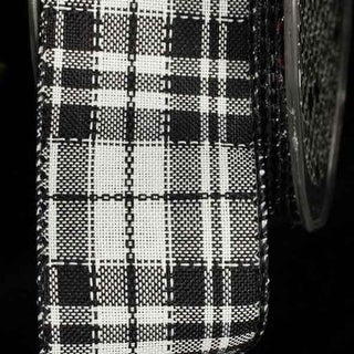 "Black and White Plaid Pattern Wired Craft Ribbon 1.5"" x 40 Yards"