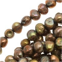 Bronze Gold Funky Nugget Cultured Pearls 5-6mm / 15.5 Inch Strand