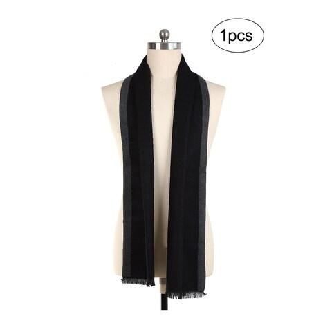 Men Plaids Pattern Warm Wrap Shawl Long Scarves Black+Dark Gray - Black+Dark Gray