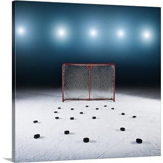 Premium Thick-Wrap Canvas entitled Ice hockey goal surrounded by pucks https://ak1.ostkcdn.com/images/products/is/images/direct/6b2b0be0425f5898a96fef62af4e2402a3cd359b/Premium-Thick-Wrap-Canvas-entitled-Ice-hockey-goal-surrounded-by-pucks.jpg?impolicy=medium