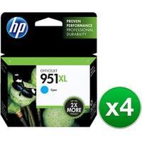 HP 951XL High Yield Cyan Original Ink Cartridge (CN046AN)(4-Pack)