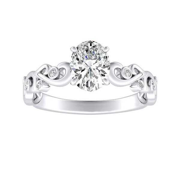 Auriya 1ctw Vintage Oval-cut Solitaire Diamond Engagement Ring Platinum. Opens flyout.