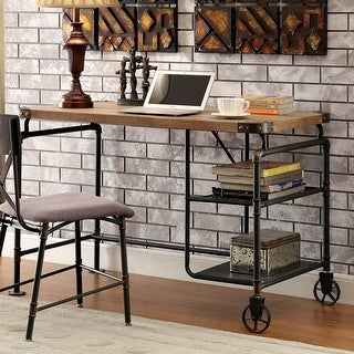 Link to Furniture of America Wini Industrial Black 47-inch Solid Wood Desk Similar Items in Computer Desks
