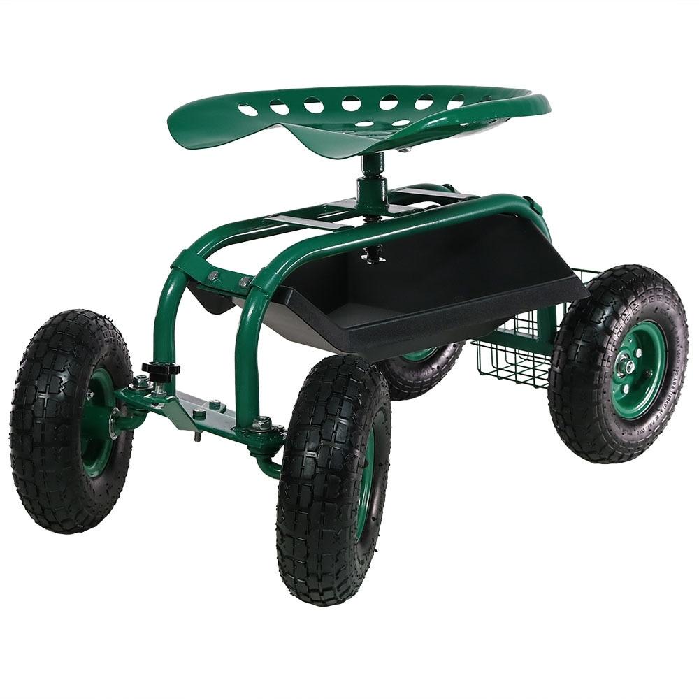 Sunnydaze Rolling Garden Cart with Steering Handle, Swivel Seat & Basket - Thumbnail 23