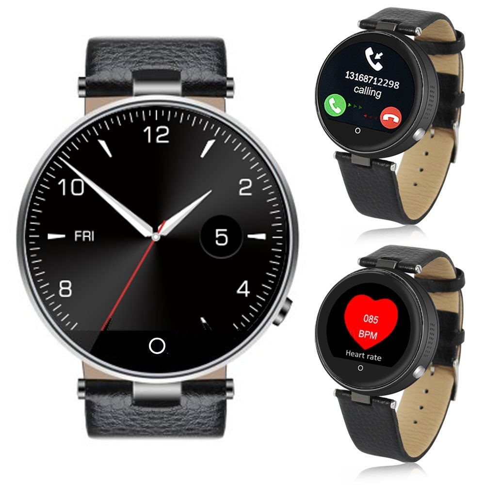 Indigi® (Black) H365 HD Touch Screen Bluetooth-Sync SmartWatch & Phone w/ Heart Rate Sensor + SIRI for All iPhones+Android - Thumbnail 0