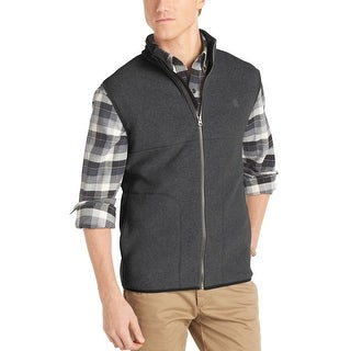 Izod Performance Polar Fleece Full Zip Mockneck Vest Carbon Grey Small S