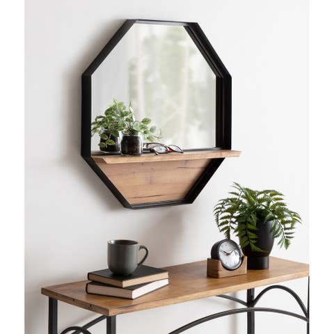 Kate and Laurel Owing Octagon Wall Shelf Mirror - 24x24