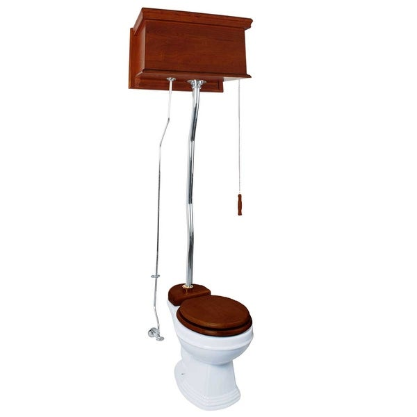 Mahogany Flat High Tank Pull Chain Water Closet With White Toilet Bowl And ZPipe