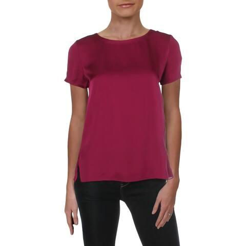 Theory Womens T-Shirt Silk Frayed Hem