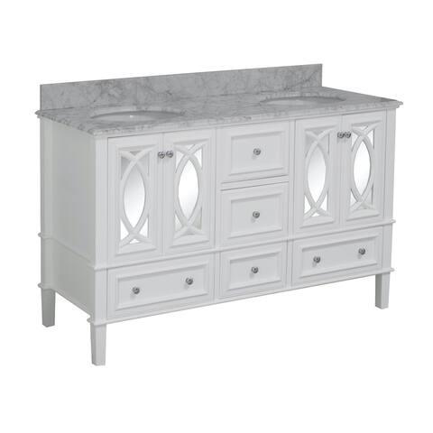 "KitchenBathCollection Olivia 60"" Double Bathroom Vanity with Carrara Marble Top"