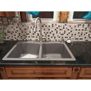 Kraus KGD-52 Forteza 33-in Undermount Drop-in Dual Mount 50/50 2-Bowl Granite Kitchen Sink, Strainers, Mitt, Trivet