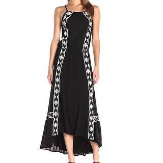 Ella Moss NEW Black Womens Size XS Embroidered Halter Maxi Dress