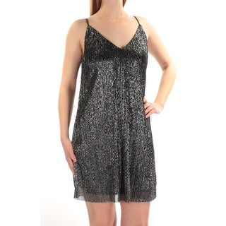 Womens Silver Black Spaghetti Strap Mini Shift Party Dress Size: M
