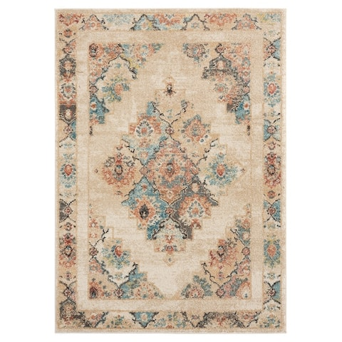 Porch & Den Steven Distressed Diamond Medallion Area Rug