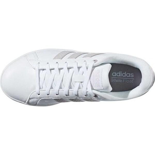 adidas Women's NEO Cloudfoam Advantage Stripe Court Shoe WhiteIce PurpleLight Granite