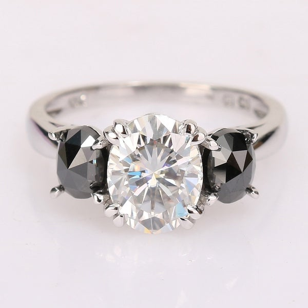 Miadora 2ct DEW Oval-cut Moissanite and 1ct TDW Black Diamond 3-Stone Engagement Ring in 10k White Gold. Opens flyout.