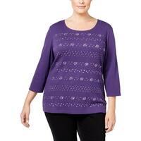 Karen Scott Womens Plus Pullover Top Embellished Jewel