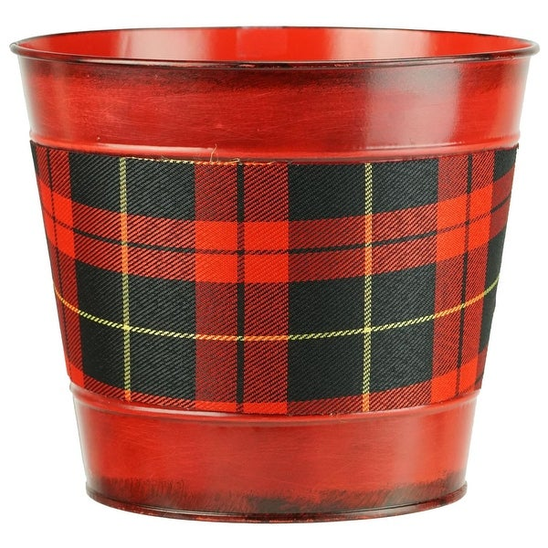 "6.5"" Small Red with Tartan Plaid Christmas Potted Plant Cover"