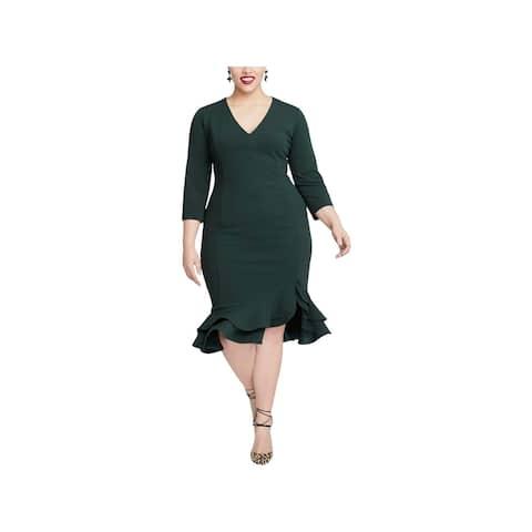 Rachel Roy Womens Plus Midi Dress Ruffled Hem V-Neck
